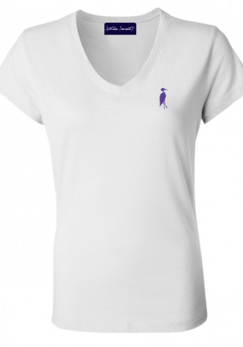 Sixteen Seventy Ladies White Purple Vneck