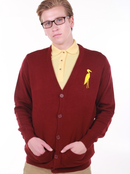 Sixteen Seventy Men's Cardigan Burgundy Yellow