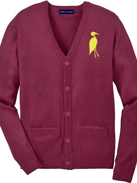 Sixteen Seventy Men's Cardigan Burgundy Yellow.