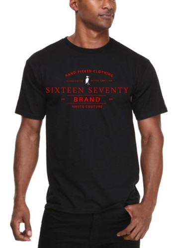 Sixteen Seventy Men's Black Handmade T-shirt