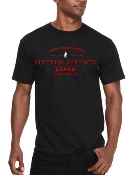 Sixteen Seventy Men's Black Handmade T-shirt