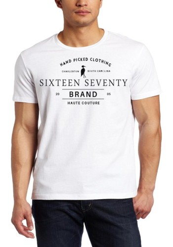 Sixteen Seventy Men's White Handmade T-shirt