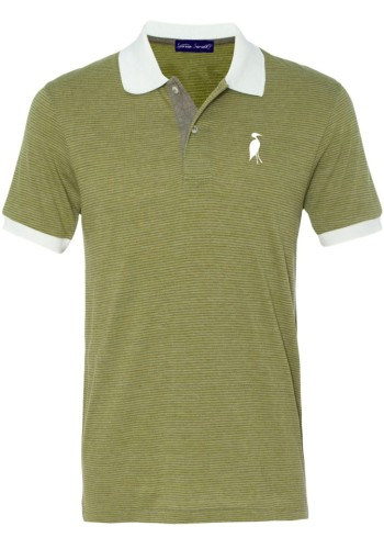 Sixteen Seventy Striped Mesh Polo Green