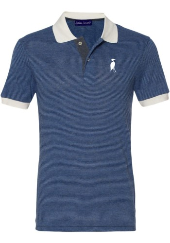 Sixteen Seventy Striped Mesh polo Navy