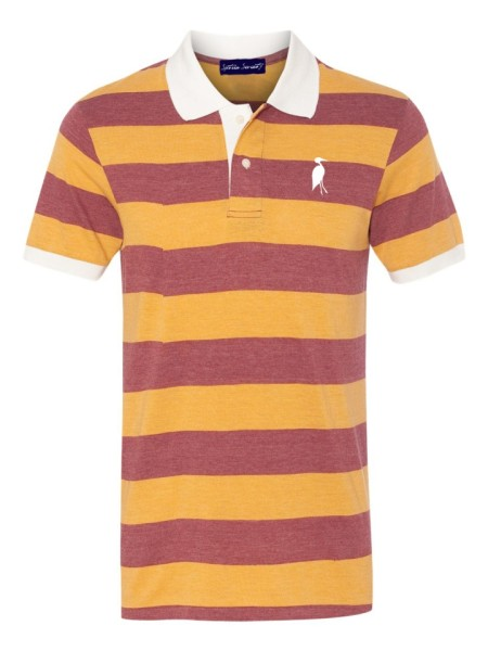 Sixteen Seventy Striped Polo Orangered1