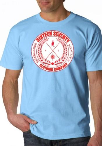 Sixteen Seventy Men's  Sky Blue Compass T-shirt