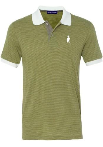 Sixteen Seventy Striped Mesh Polo Green